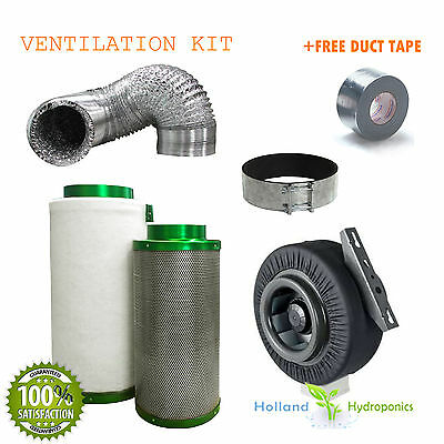 """10"""" 250mm Filtaroo Carbon Filter Centrifugal Fan Ducting Ventilation Combo"""
