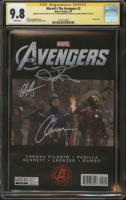 Avengers #2 Movie Photo CGC 9.8 SS Signed Chris Evans, Hemsworth, Jeremy Renner