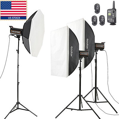 1800W 3x Godox QT600 3x 600ws High Speed Studio Strobe Flash Light Softbox Kit