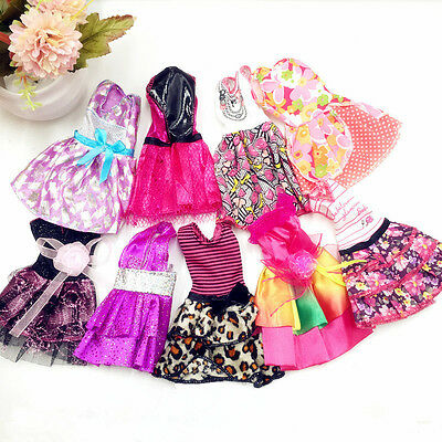"""10 Pcs Fashion Handmade Dresses Clothes For 11"""" Barbie Doll Style Random Gifts"""