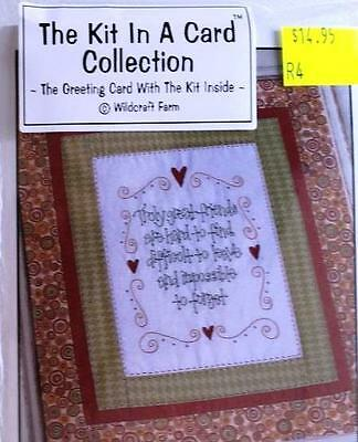 Kit In Card Truly Great Friends Pre-Printed Embroidery / Stitchery Design Thread