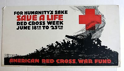 Authentic WWI  1917 American Red Cross War Fund Poster For Humanity's Sake