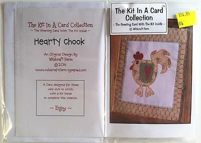 Kit In Card Hearty Chook Chicken  Pre-Printed Embroidery/stitchery Design Thread