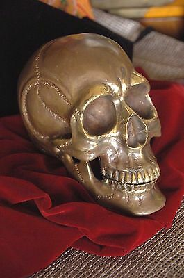 Old Cast Bronze / Brass Life Size Human Skull …stunning display & collector's pi