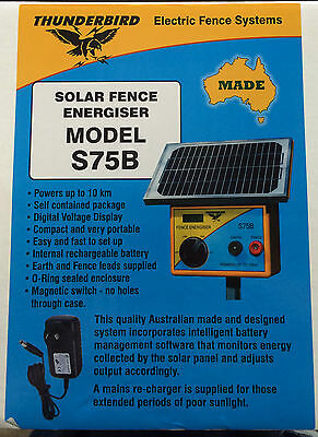 New Thunderbird Solar Electric Fence Energiser. S75B 10 km with Battery