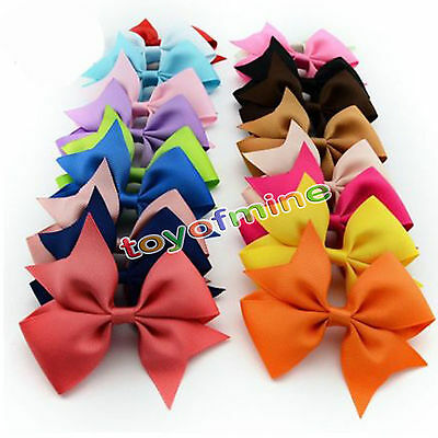 20 X Alligator Bow Hair Clip Handmade Clips Girls Ribbon Kids Sides Accessories
