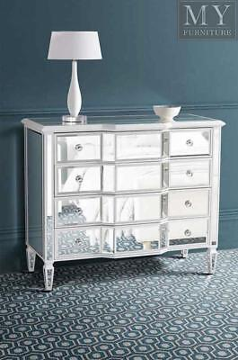 Leonore Mirrored & White Painted Dresser Chest