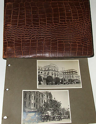 123 vintage RP postcards pasted in leather album Greece Egypt men women swimwear