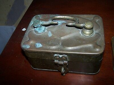 Old Antique Indian Hand Crafted Brass Lunch Box Rich Patina 1800's!