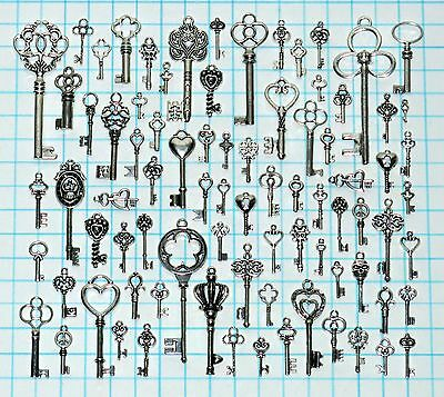 82 Antique Vtg old look Silver Skeleton Key Lot Ornate Fancy Steampunk Heart Bow