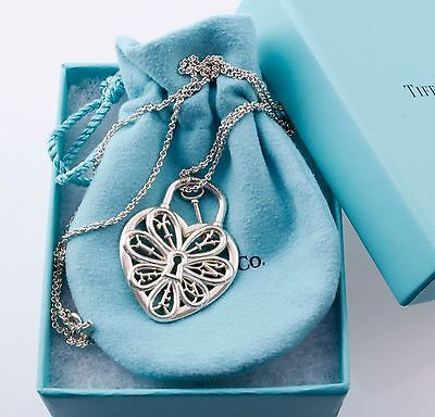 """Tiffany &Co Silver Ex Large Filigree Heart Key Charm Pendant Necklace 24"""" Chain"""