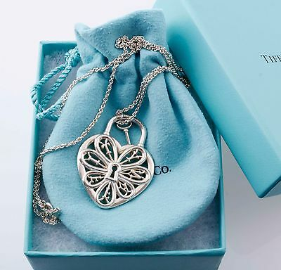 """Tiffany &Co Silver Large Filigree Heart Key Charm Pendant Necklace 24"""" Chain"""