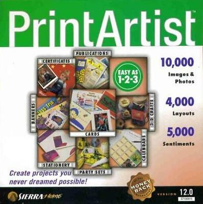 Print Artist 12 PC CD certificates stationery project greeting cards documents +