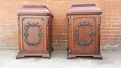 Pair 19Th  Flame Mahogany Chippendale Bedside Cupboards Cabinets Lamp Tables