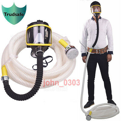 10M Long Tube Pipe Full Face Gas Mask Air Respirator W/C Cartridge Supplied Air