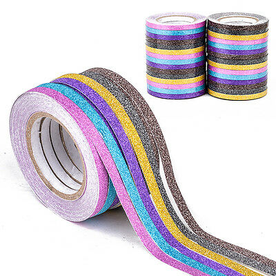 6pcs Glitter Washi Tape Adhesive Stationery Scrapbooking Masking Decorative DIY