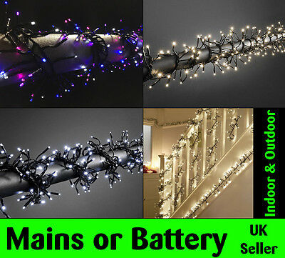 LED Cluster Battery/Mains Operated WATERPROOF Outdoor Xmas Lights Christmas Tree