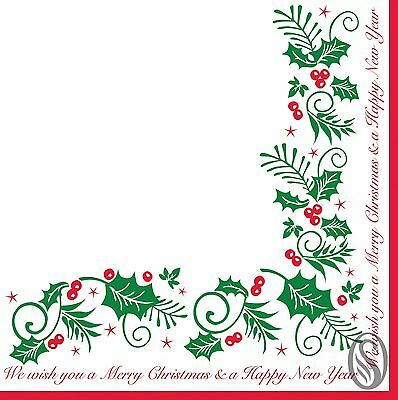 100 Holly & Ivy Serviettes Napkin 33cm 2Ply Christmas Xmas Party Catering