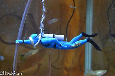 Retro Orange Or Blue Aquarium Fish Tank Air Diver Ornament Aeration Oxygen