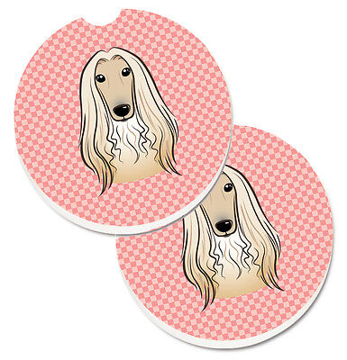 Checkerboard Pink Afghan Hound Set of 2 Cup Holder Car Coasters