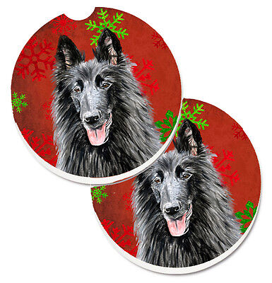 Belgian Sheepdog Red and Green Snowflakes Holiday Christmas Set of 2 Cup Holder