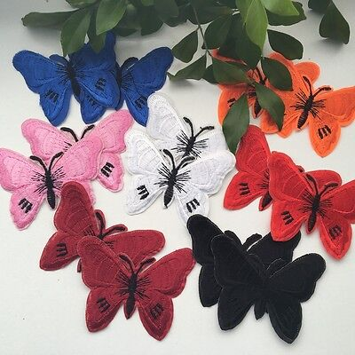 2pcs Butterfly Embroidered Appliques Iron On Sew On Patch #210