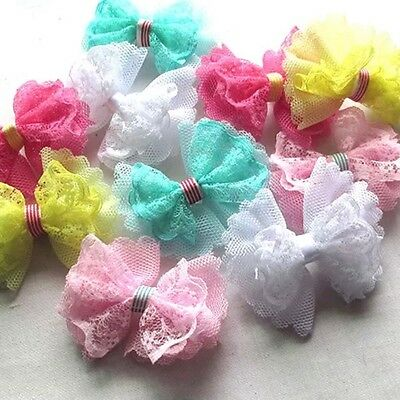 5 pcs Ribbon Bow Flowers Mesh Lace Appliques Craft Doll Decor Lots #364