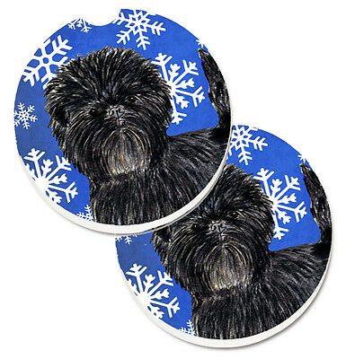 Affenpinscher Winter Snowflakes Holiday Set of 2 Cup Holder Car Coasters