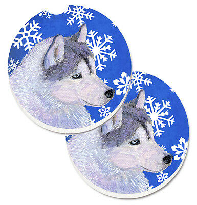 Siberian Husky Winter Snowflakes Holiday Set of 2 Cup Holder Car Coasters