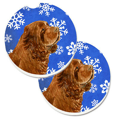 Sussex Spaniel Winter Snowflakes Holiday Set of 2 Cup Holder Car Coasters