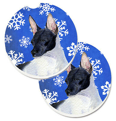 Rat Terrier Winter Snowflakes Holiday Set of 2 Cup Holder Car Coasters