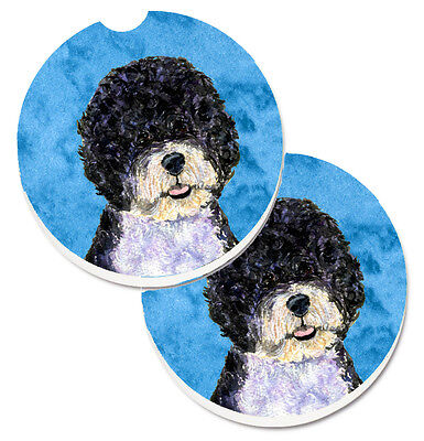 Blue Portuguese Water Dog Set of 2 Cup Holder Car Coasters
