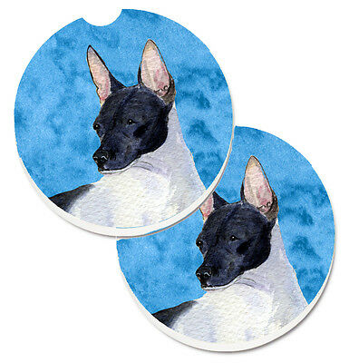 Blue Rat Terrier Set of 2 Cup Holder Car Coasters