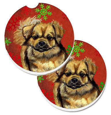 Tibetan Spaniel Red Green Snowflake Holiday Christmas Set of 2 Cup Holder Car Co