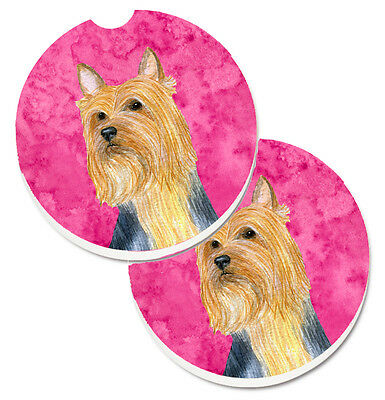 Pink Silky Terrier Set of 2 Cup Holder Car Coasters