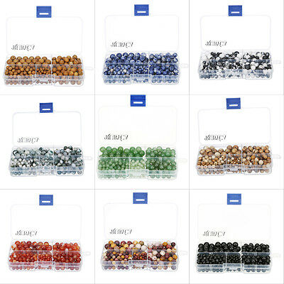 Assorted Natural Gemstone Round Loose Beads Mix Sizes Organizer Box for Jewelry