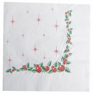 125 Holly Berry Serviettes 40cm 2Ply Christmas Napkins Catering Xmas Party