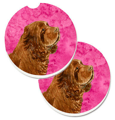 Pink Sussex Spaniel Set of 2 Cup Holder Car Coasters