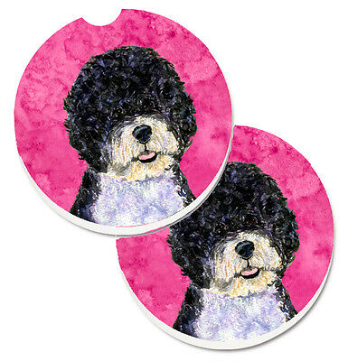 Pink Portuguese Water Dog Set of 2 Cup Holder Car Coasters