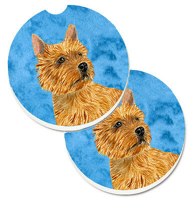 Blue Norwich Terrier Set of 2 Cup Holder Car Coasters