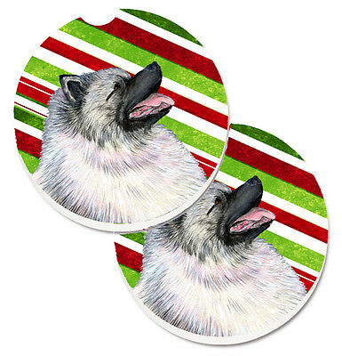 Keeshond Candy Cane Holiday Christmas Set of 2 Cup Holder Car Coasters
