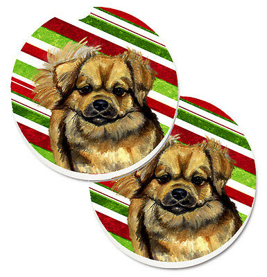 Tibetan Spaniel Candy Cane Holiday Christmas Set of 2 Cup Holder Car Coasters