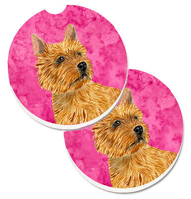 Pink Norwich Terrier Set of 2 Cup Holder Car Coasters