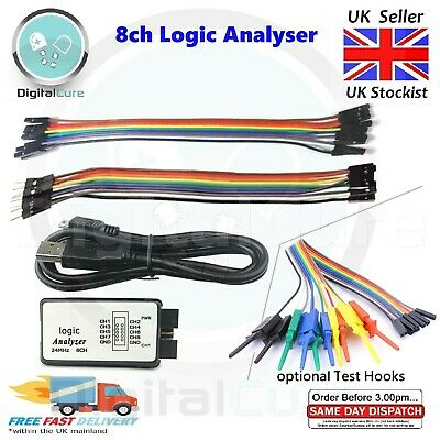 Logic Analyser 8CH 24MHz Test leads (Male & extra Female) USB cable, Clips Hooks