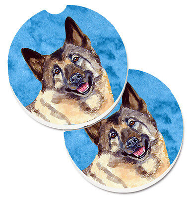 Blue Norwegian Elkhound Set of 2 Cup Holder Car Coasters