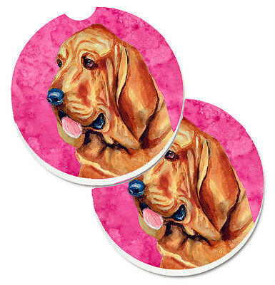 Pink Bloodhound Set of 2 Cup Holder Car Coasters