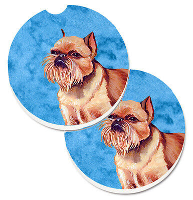 Blue Brussels Griffon Set of 2 Cup Holder Car Coasters
