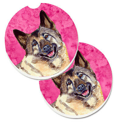 Pink Norwegian Elkhound Set of 2 Cup Holder Car Coasters