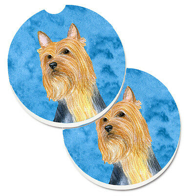 Blue Silky Terrier Set of 2 Cup Holder Car Coasters