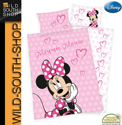 DISNEYs MINNIE MOUSE BETTWÄSCHE Maus 40x60 100x135 100% Baumwolle RV NEU Herding